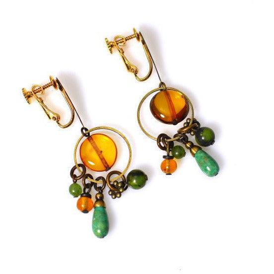 AMBER, JADE AND TURQUOISE CLIP EARRINGS - Side Street Studio