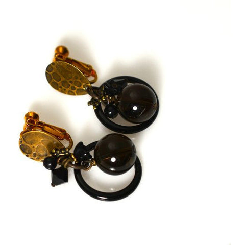 CLASSIC BLACK ONYX CLIP EARRINGS - Side Street Studio
