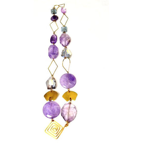 LAVENDER ROSE CHUNKY AMETHYST NECKLACE - Side Street Studio - 1