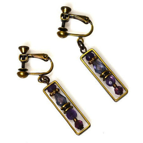 PASSION FOR PURPLE CLIP ON  EARRINGS - Side Street Studio