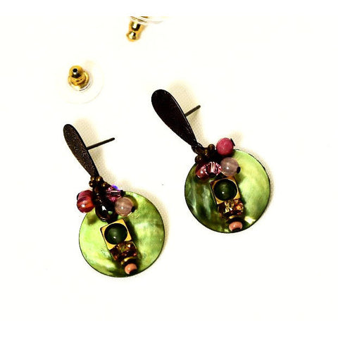 SOLITUDE GREEN PINK EARRINGS - Side Street Studio