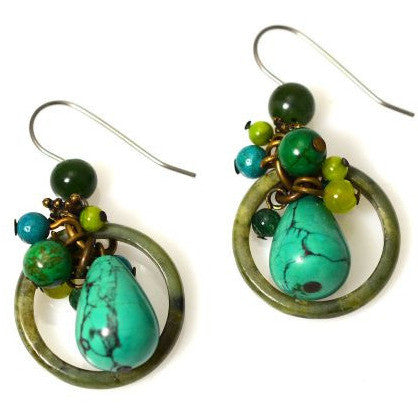 TURQUOISE ELEMENTAL EARRINGS - Side Street Studio