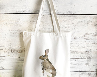 Standing Rabbit Tote Bag by Emma Pyle Art