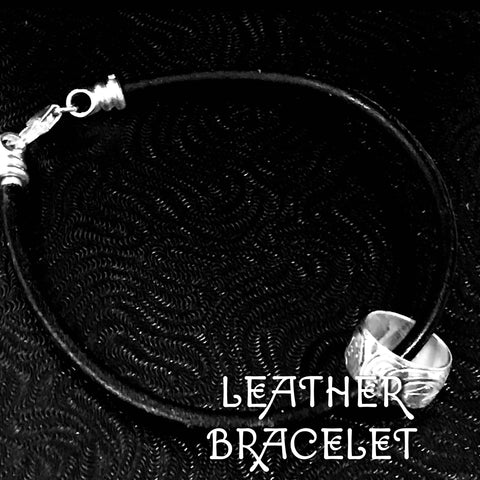 SPIRIT BEADS - BLACK LEATHER BRACELET - 7.5""