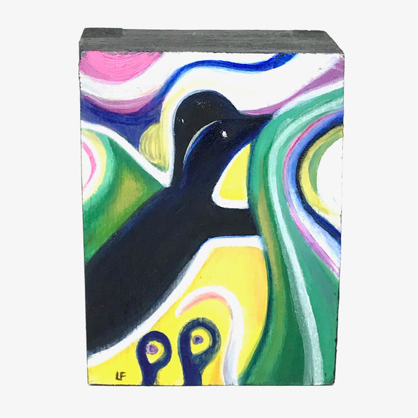 BLUE AND YELLOW BIRD PAINTED ON WOOD