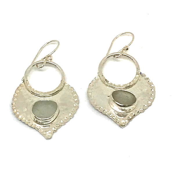 WHITE TUSCAN GLASS EARRINGS