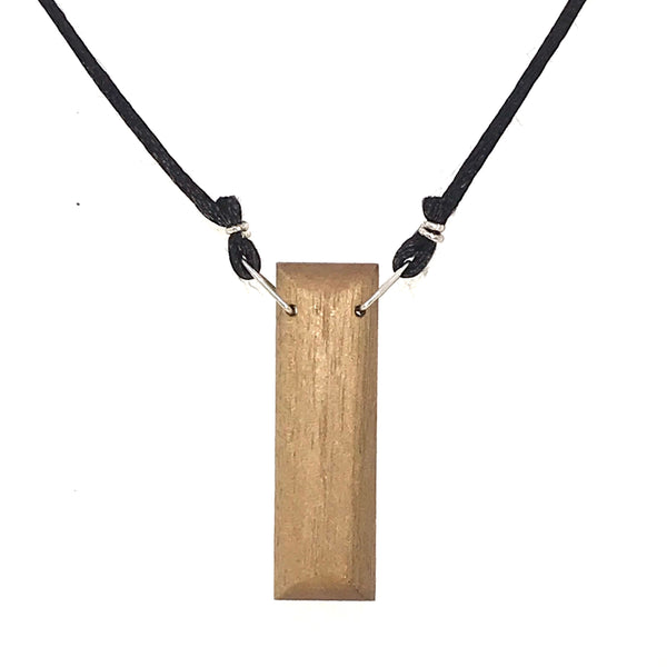 WOOD PENDANT 'I LOVE YOU' RECTANGLE ON ADJUSTABLE CHORD