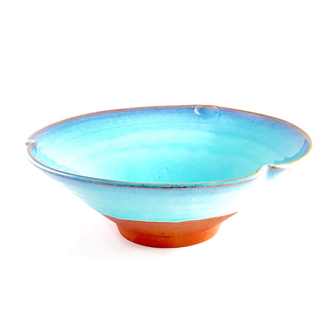 Large Turquoise Bowl with Pinched Rim, 12 inches