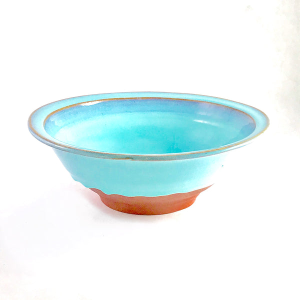 Turquoise over Red Clay Ceramic Rimmed Serving Bowl, 11 3/4 inches