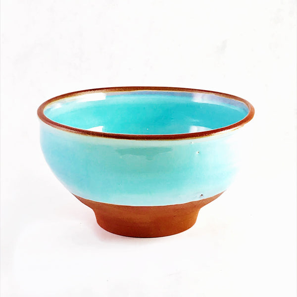 Turquoise over Red Clay Ceramic  Bowl, 6 inches