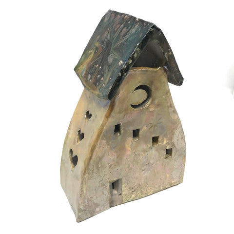 CERAMIC HOUSES LANTERN - GOLDIE HOUSE WITH MOON, HEART & STAR