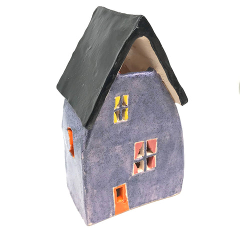 CERAMIC HOUSES LANTERN - PERIWINKLE WITH GREEN LEAF
