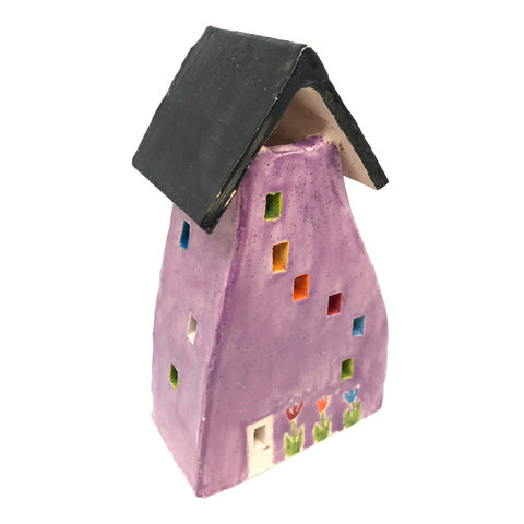 CERAMIC HOUSES LANTERN - LILAC WITH FLOWERS & HEARTS