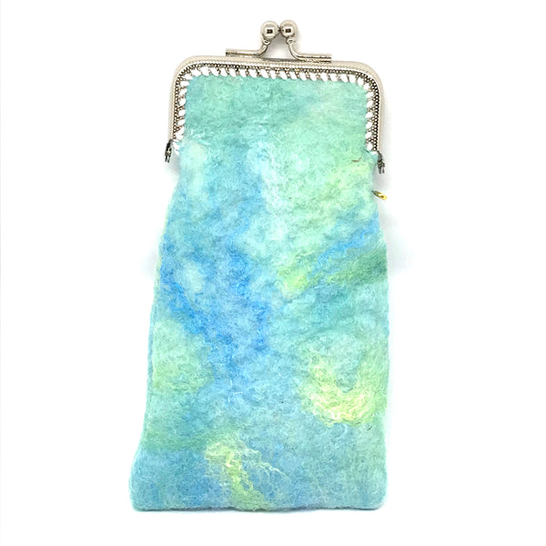 KISS CLASP GLASSES CASE - LIGHT BLUE, GREEN & YELLOW