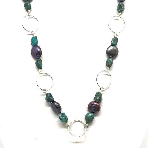 STERLING SILVER PEARL & AMETHYST CHAIN NECKLACE