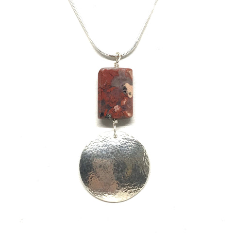 STERLING SILVER RED JASPER PENDANT NECKLACE