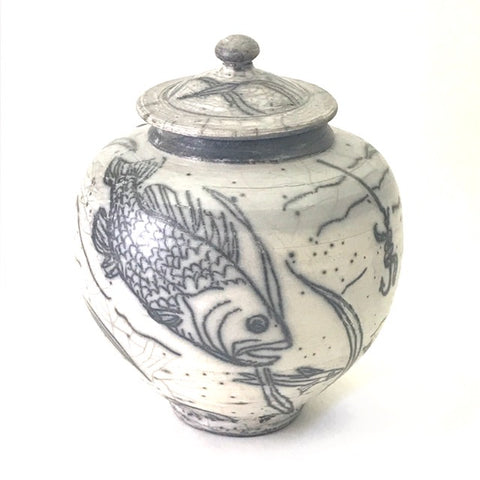 RAKU LIDDED VESSEL - SALMON DESIGN