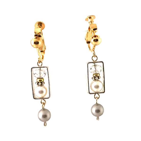 CHAMPAGNE CREAM EARRINGS - CLIP ON