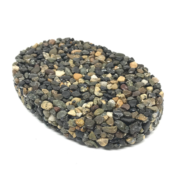 OVAL BLACK STONE SOAP DISH