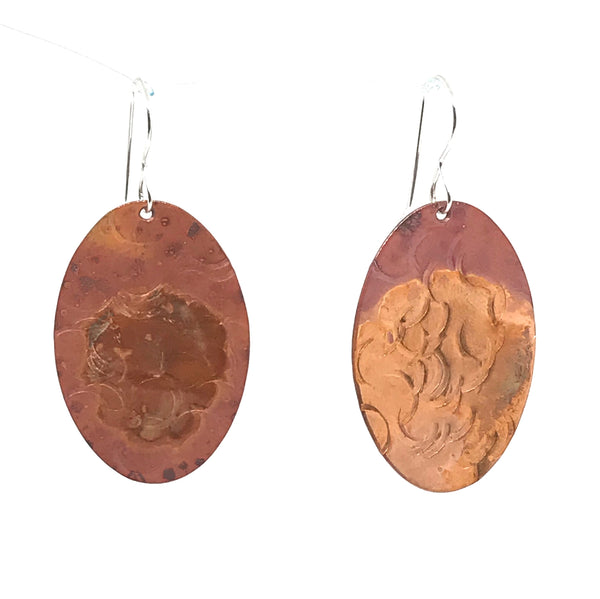 Copper oval earrings, 1 1/2 inches - Side Street Studio
