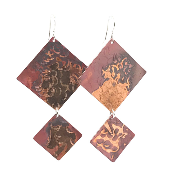 Copper Bold Square Drop Earrings, 3 inches - Side Street Studio