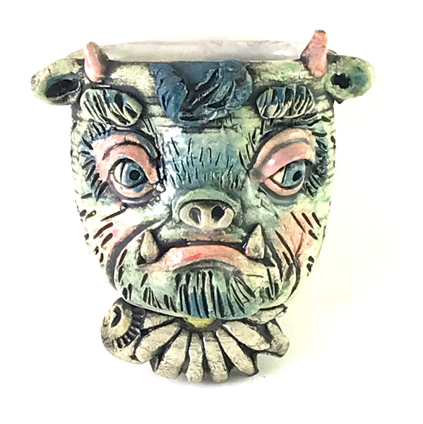 PORCELAIN HANGING CONTAINER - COW