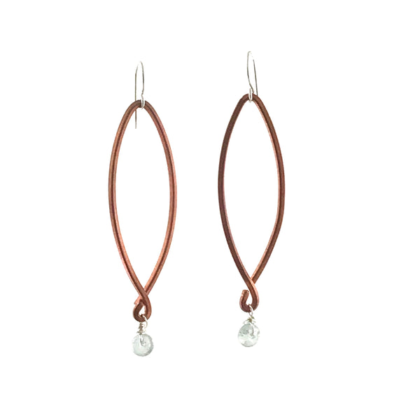 COPPER EARRING - LONG DROP WITH AQUAMARINE