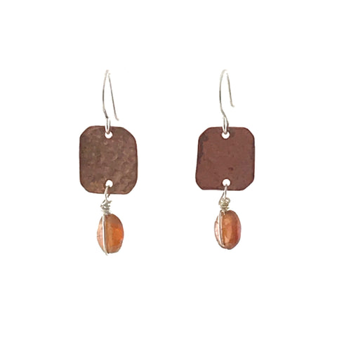 COPPER EARRING WITH HESSONITE GARNET