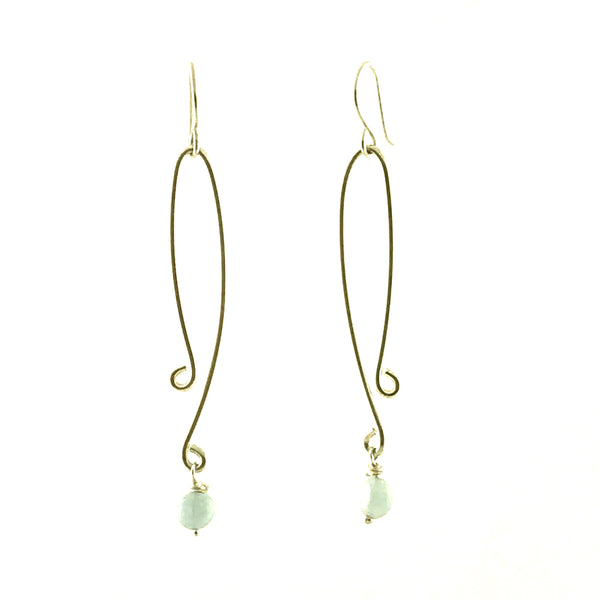 STERLING SILVER EARRINGS - LONG DROP WITH AQUAMARINE