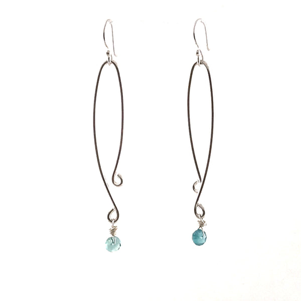 STERLING SILVER EARRINGS - LONG DROP WITH FLOURITE