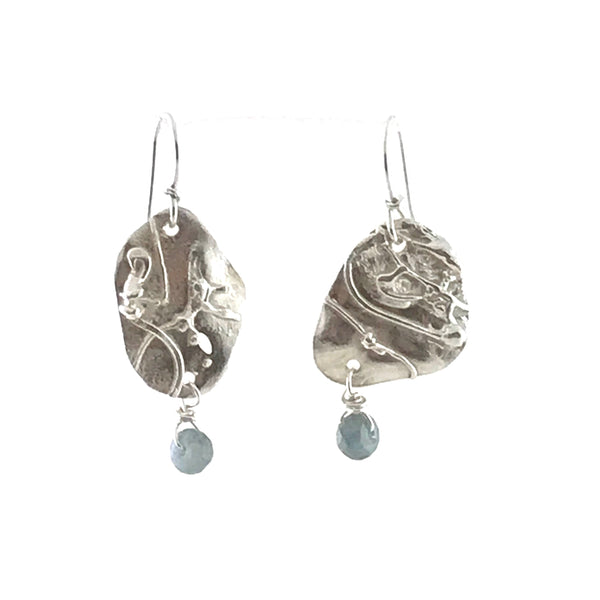 STERLING SILVER EARRINGS - FUSED SILVER WITH FLOURITE