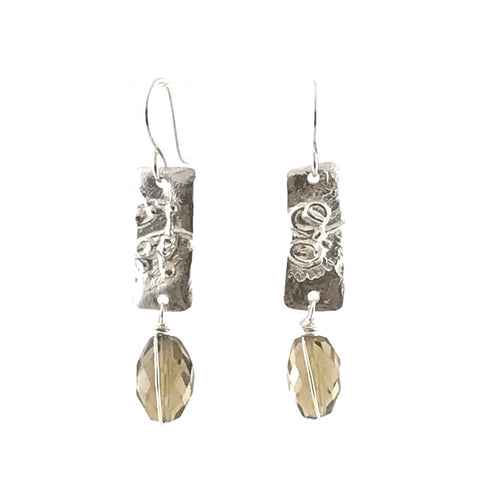 STERLING SILVER EARRINGS - FUSED SILVER WITH SMOKY QUARTZ