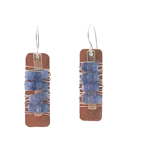 COPPER / STEEL EARRINGS - TANZENITE