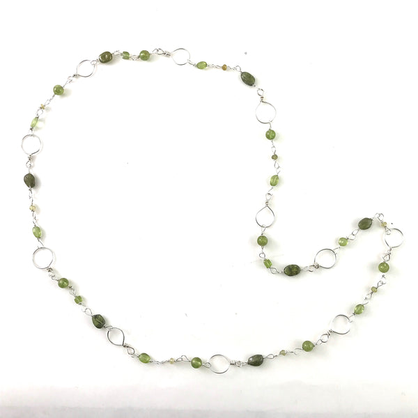 STERLING SILVER - PERIDOT CHAIN NECKLACE