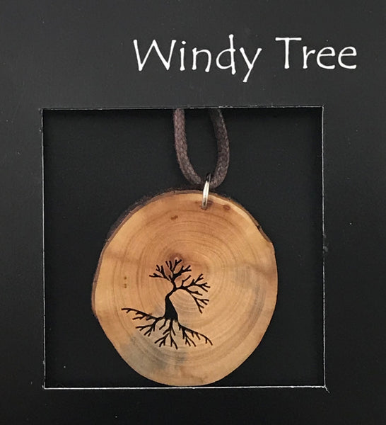 Arbutus Wood Pendant with Arbutus Tree of Life Windswept - Side Street Studio