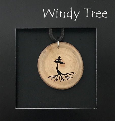 Arbutus Wood Pendant with Single Evergreen Rooted - Side Street Studio