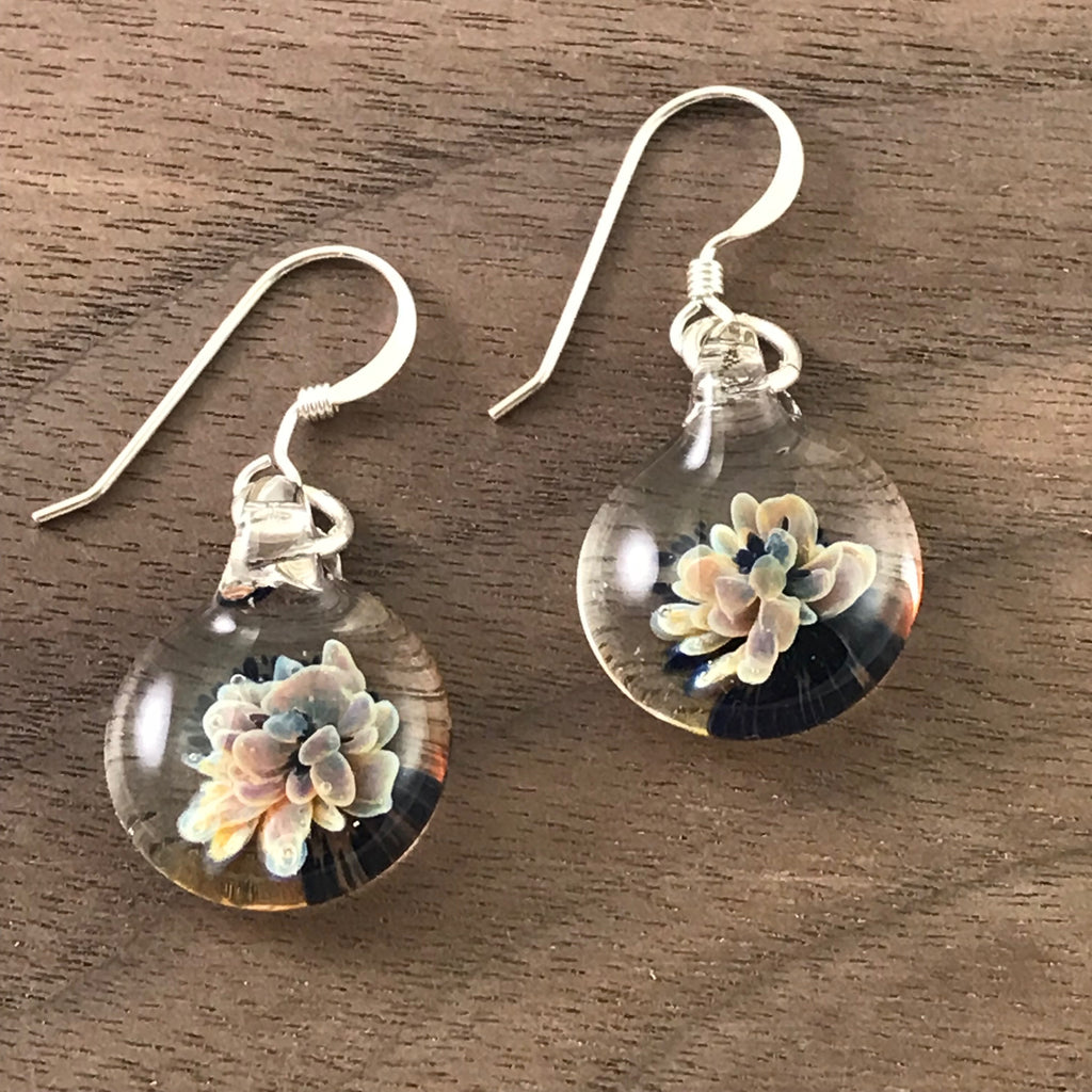 MINI GLASS BALL GLASS EARRINGS - BLOSSOMS