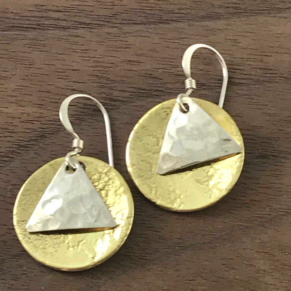 BRASS DISK WITH STERLING SILVER TRIANGLE EARRINGS