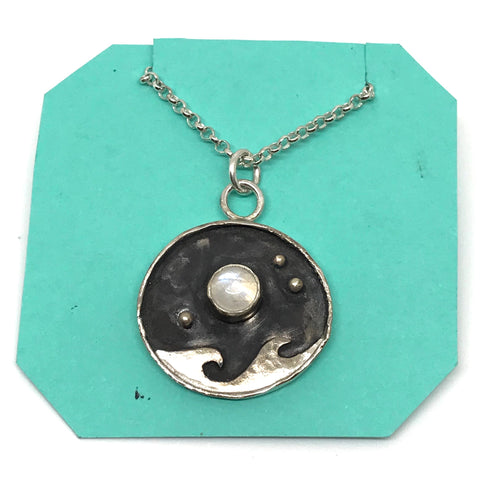 STERLING SILVER NECKLACE WITH NIGHT SKY - MOONSTONE
