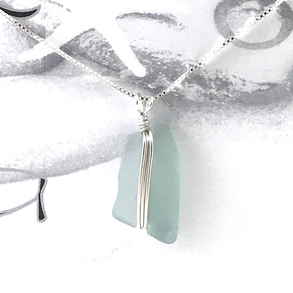 Glass fishing float wrap design pendant necklace