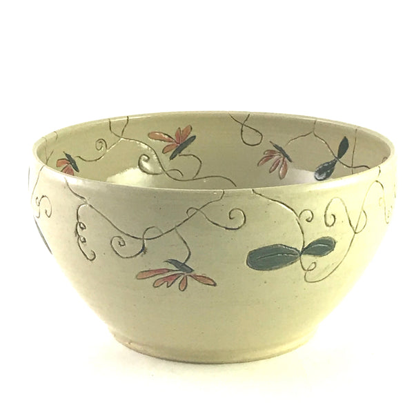 FUNKY FUNGUS LARGE CERAMIC BOWL - ORANGE PETAL FLOWERS