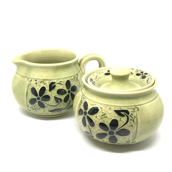 BLACK AND GREEN FLORAL CREAM AND SUGAR SET