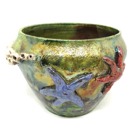 RAKU BARNACLE AND SEA STAR VASE - GREEN