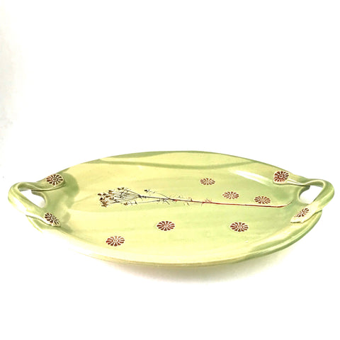 LARGE HANDLED OVAL TRAY WITH INLAY