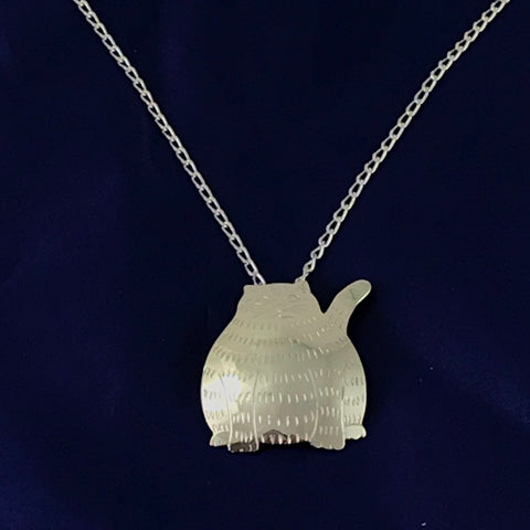 STERLING SILVER FAT CAT PENDANT