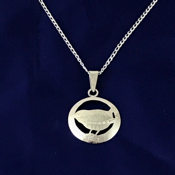 Sterling Silver Wren in Circle Pendant Necklace