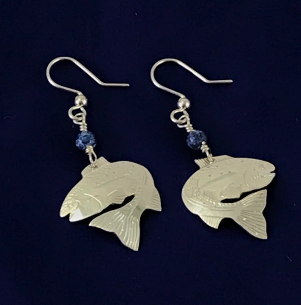 STERLING SILVER SALMON EARRINGS WITH SODALITE BEADS