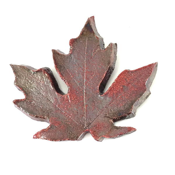 SMALL RAKU MAPLE LEAF - RED