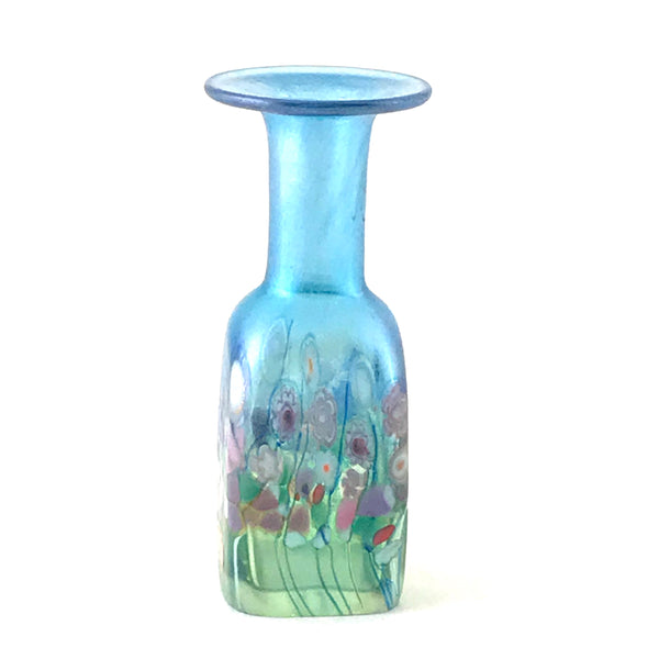 Flower Bouquet Light Blue Mini Square Vase
