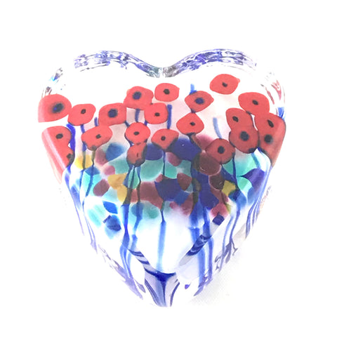 California Poppy Small Clear Glass Heart Paperweight